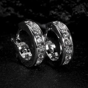 Sterling Silver One Row Iced Huggie Hoop Earrings